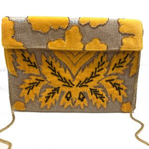 MUSTARD VELVET APPLIQUE CLUTCH