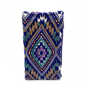 BLUE SAPPHIRE EMBROIDERED PHONE WALLET