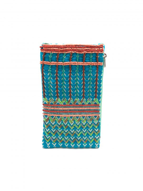 TURQ AND CORAL BEADED PHONE WALLET