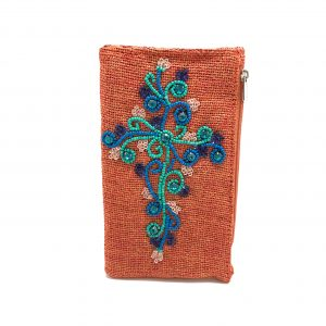 JEWELED TURQUOISE CROSS PHONE WALLET