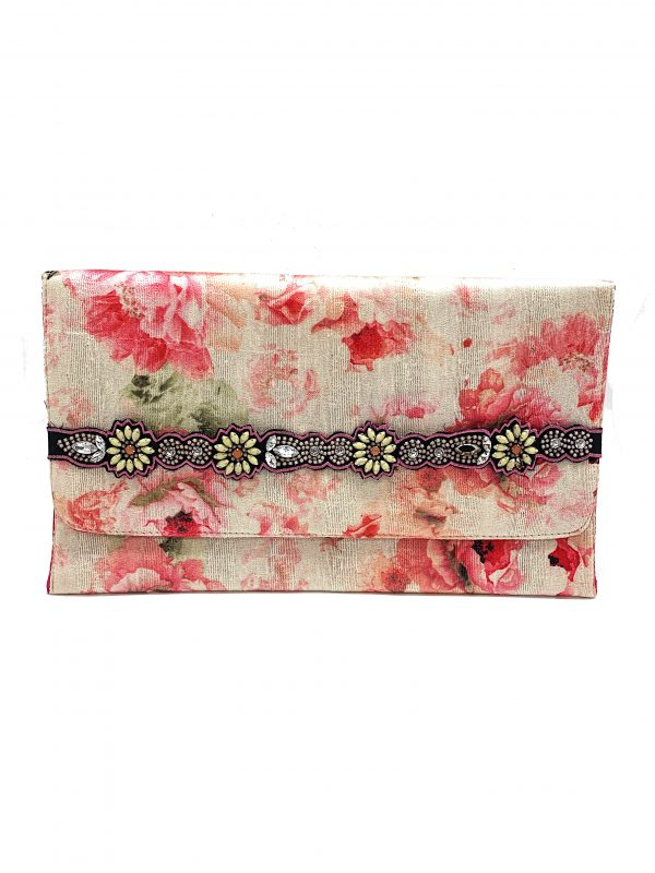 PRINTED FLORAL HAND HELD CLUTCH