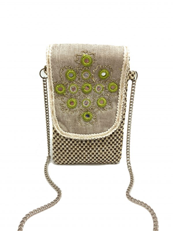 WOVEN FABRIC PHONE WALLET WITH MIRROR WORK