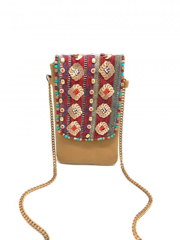 WOVEN EMBROIDERED FLAP WITH VEGAN LEATHER PHONE WALLET