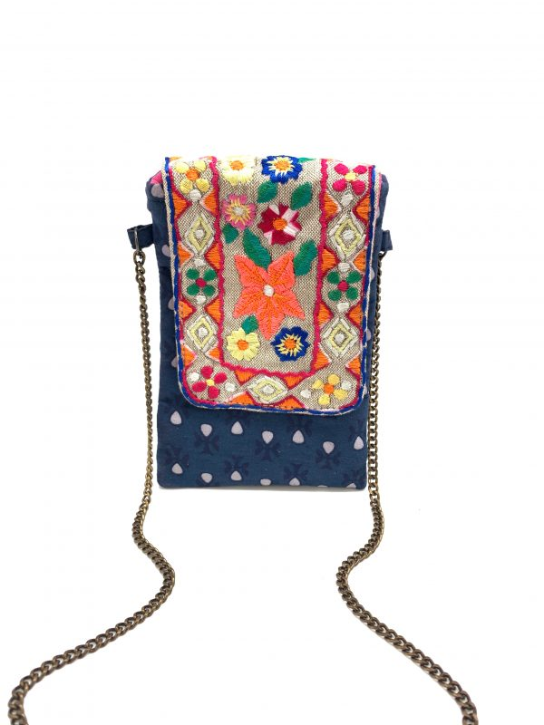 MULTI FLORAL EMBROIDERED PHONE WALLET