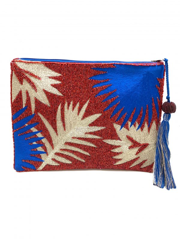 RED AND BLUE PALM LEAF EMBROIDERED BAG