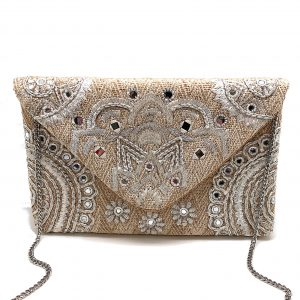 NATURAL COLOR WOVEN CLUTCH WITH MIRROR EMBELLISHMENTS