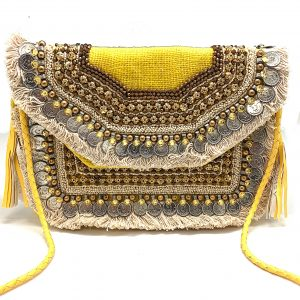YELLOW BOHO FRINGE CLUTCH