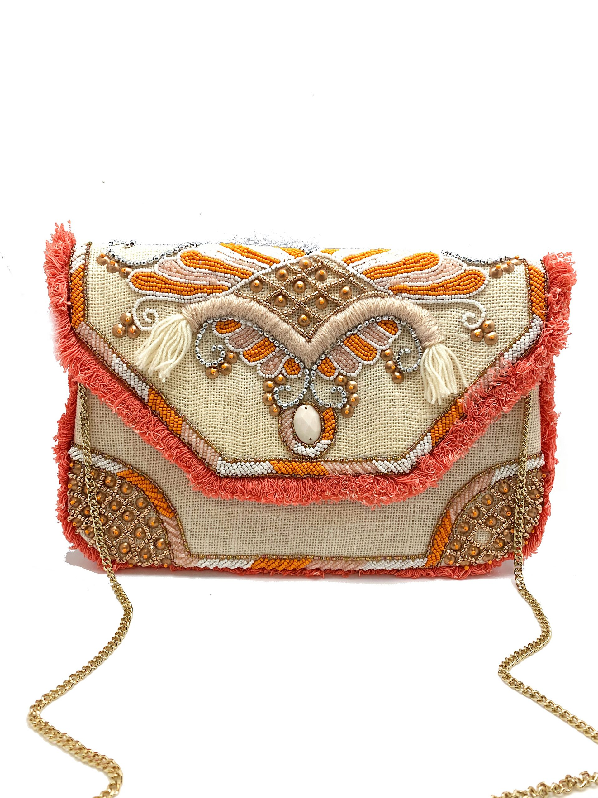 NATURAL BURLAP WITH CORAL FRINGE CLUTCH