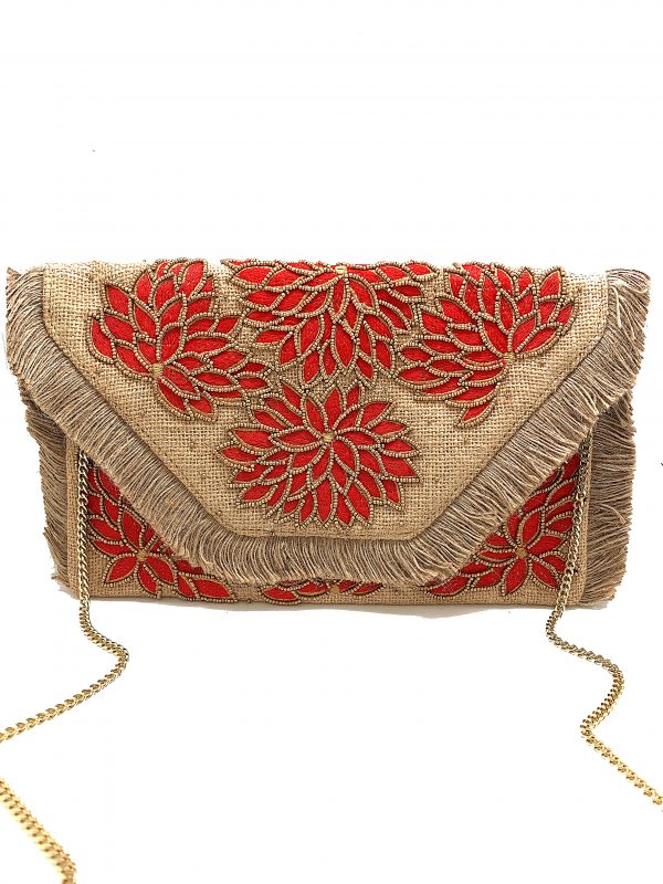RED FLORAL EMBROIDERED BURLAP CLUTCH