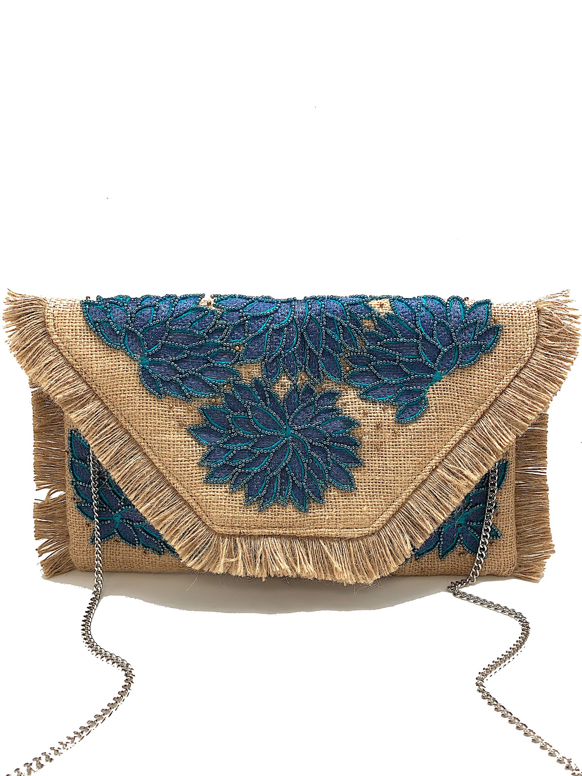 TEAL EMBROIDERED JUTE FLORAL CLUTCH