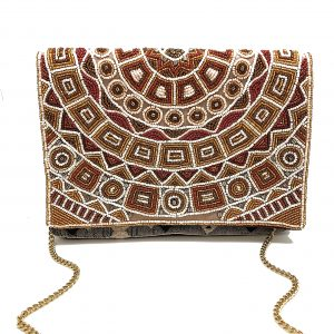 JACQUARD MULTI BEADED CLUTCH