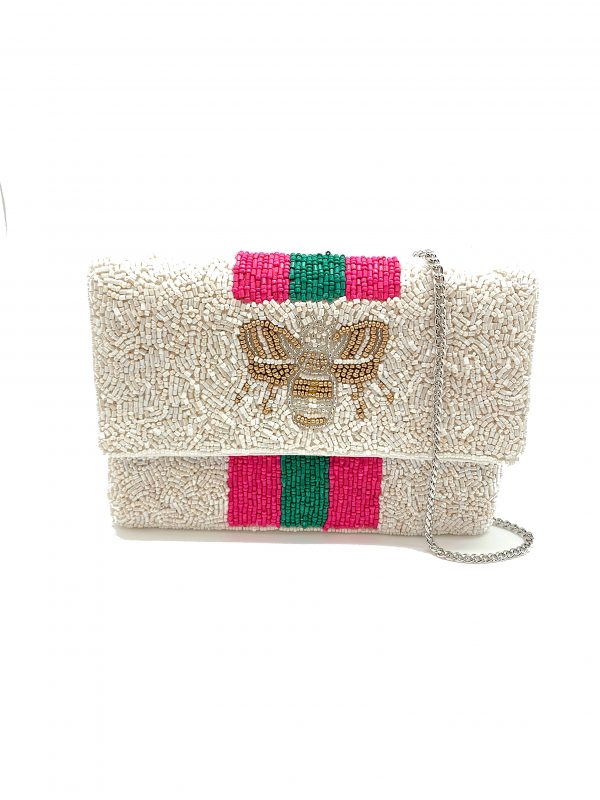 """BEE YOU"" FUCHSIA STRIPED MINI CLUTCH"
