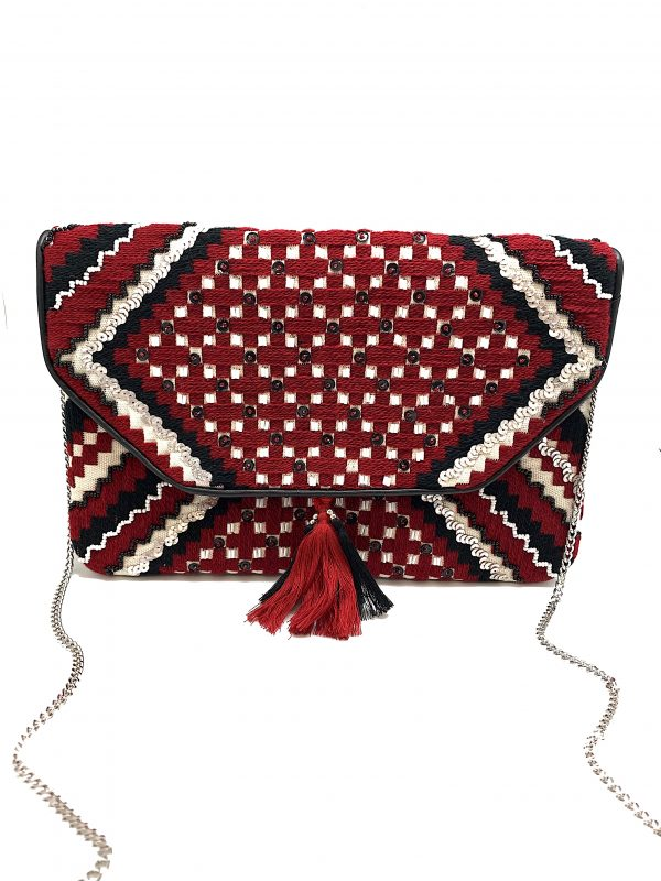 BLACK AND RED WOVEN CLUTCH WITH SEQUIN BEADING