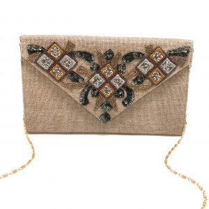 ENVELOPE CLUTCH WITH TWO-TONE EMBROIDERY AND SEQUINS
