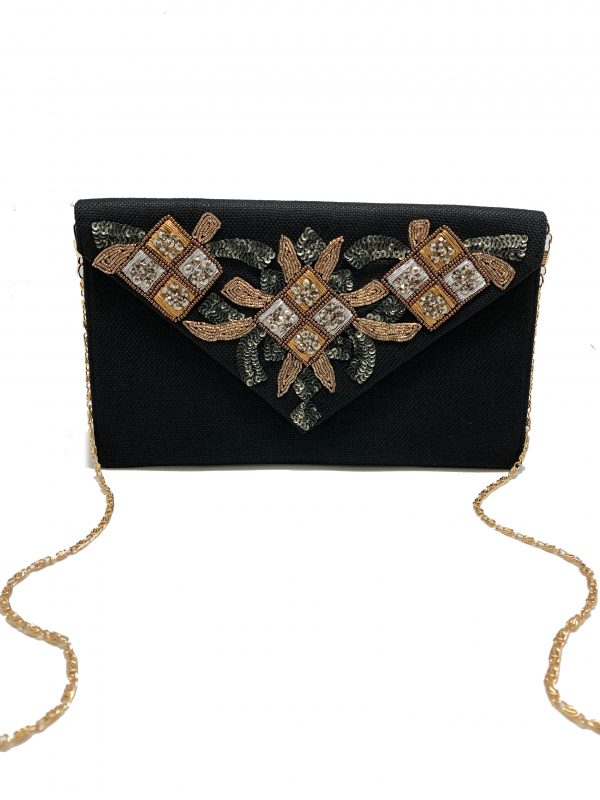 BLACK ENVELOPE CLUTCH WITH TWO-TONE EMBROIDERY AND BEADING