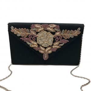 BLACK ENVELOPE CLUTCH WITH MULTI-COLORED BEADING