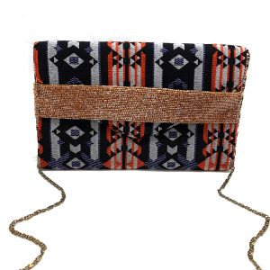 JACQUARD ENVELOPE HANDHELD CLUTCH WITH TUBE BEADED STRAP