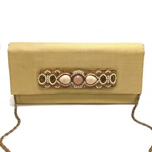 GOLD-COLORED HANDHELD EMBELLISHED CLUTCH WITH NATURAL STONES