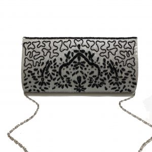 SILVER CLUTCH WITH BLACK SEQUIN BEADING