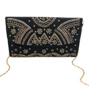 BLACK CLUTCH WITH GOLD BEADING