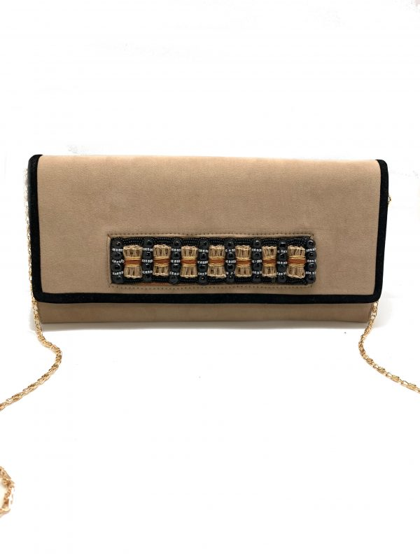 TAN-COLORED SUEDE HANDHELD CLUTCH WITH BEADED BELT