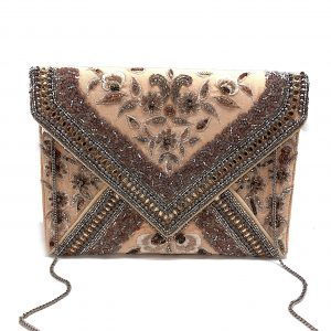 NUDE ENVELOPE CLUTCH WITH FLORAL EMBROIDERY AND SHINY METALLIC BEADING