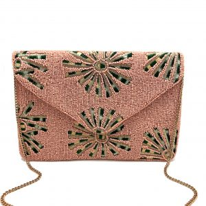 BLUSH PINK BEADED CLUTCH WITH EMBROIDERED FLOWERS