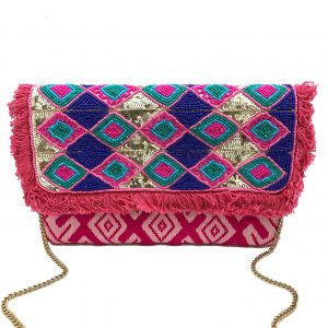 PINK EMBROIDERED CLUTCH WITH GEOMETRIC BEADING AND TASSELS