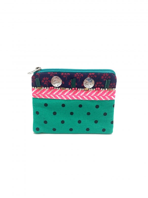GREEN AND BLACK POLKA DOT COIN PURSE