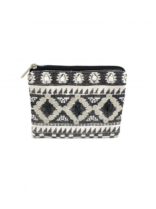 BLACK AND WHITE BEADED COIN PURSE