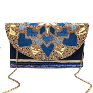 EMBROIDERED CLUTCH WITH GOLD AND BLUE PATCHWORK