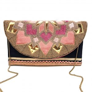 EMBROIDERED CLUTCH WITH PINK AND GOLD PATCHWORK