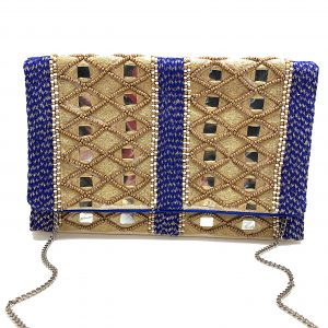 MIRRORED CLUTCH WITH BLUE METALLIC BRAIDED TRIM AND GOLD BEADING