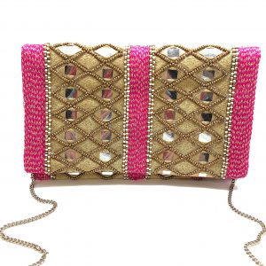 GOLD EMBROIDERED AND BEADED CLUTCH WITH PINK METALLIC BRAIDED TRIM
