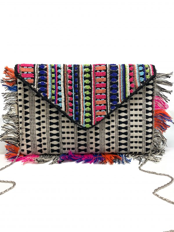 MULTI COLOR BEADED JAQUARD BAG WITH FRINGE