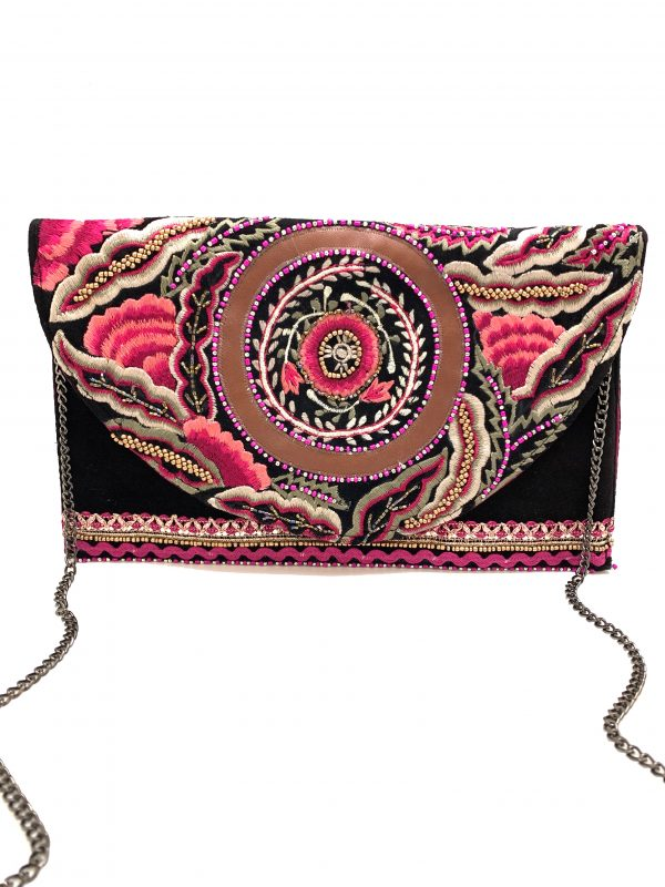 BLACK VELVET CLUTCH WITH FLORAL EMBROIDERY AND METALLIC BEADING