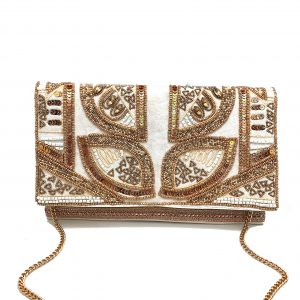 VELVET CLUTCH WITH ROSE GOLD AND GOLD BEADING AND ROSE GOLD TRIM