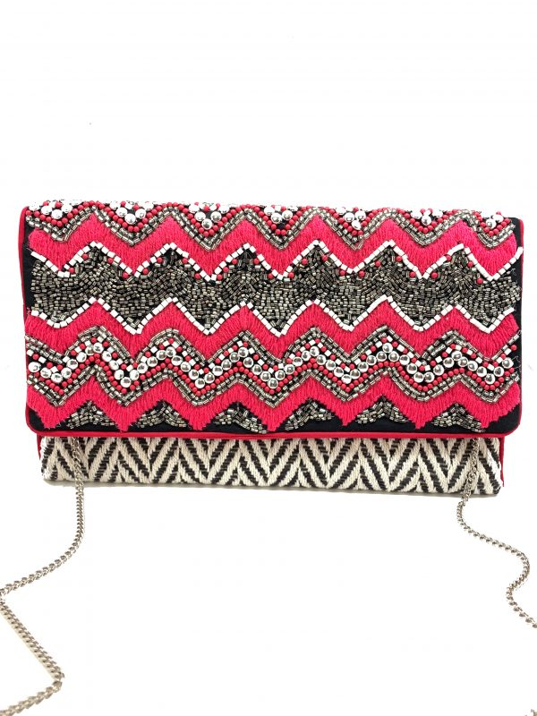 BLACK &WHITE CHEVRON PRINT WITH PINK EMBROIDERY