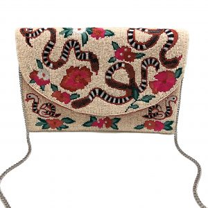 CREAM BEADED CLUTCH WITH FLORAL AND SNAKE EMBROIDERY