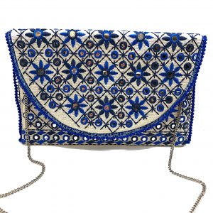BLUE FLORAL EMBROIDERED BAG WITH MIRRORS