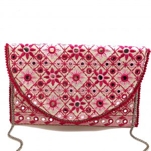 PINK FLORAL EMBROIDERED BAG WITH MIRRORS