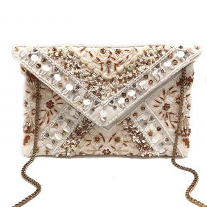 WHITE ENVELOPE CLUTCH WITH FLORAL EMBROIDERY AND METALLIC BEADING AND SEQUINS