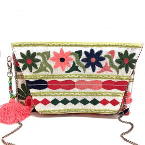 PASTEL FLORAL EMBROIDERED CLUTCH
