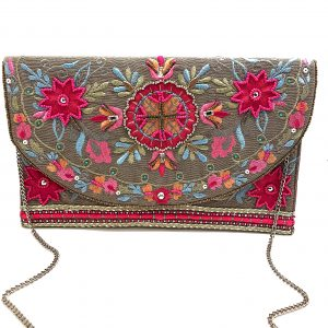 SHINY GOLD CLUTCH WITH PINK FLORAL EMBROIDERY AND METALLIC BEADING