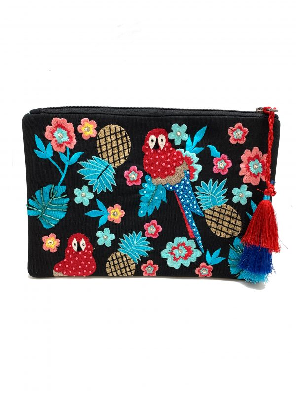 BLACK ZIPPER TOP CLUTCH WITH FLORAL AND PARROT EMBROIDERY AND TUBE BEADING