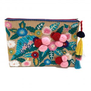 ZIPPER TOP CLUTCH WITH FLORAL EMBROIDERY AND MULTI-COLOR BEADING AND POMPOMS