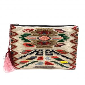 ZIPPER TOP JACQUARD CLUTCH WITH AZTEC PRINT AND MULTI-COLORED BEADING