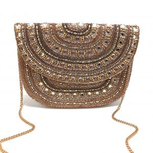 FULLY BEADED ROUNDED CLUTCH WITH GOLD AND CHAMPAGNE COLORED BEADING