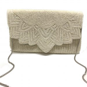 FULLY BEADED CREAM ENVELOPE CLUTCH