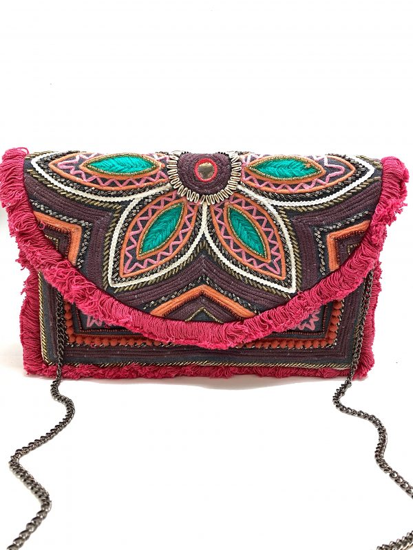 PURPLE CLUTCH BEADING AND EMBROIDERED FLORAL PATTERN